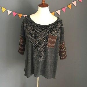 Miss Me LARGE Shirt Popover Rhinestone blouse